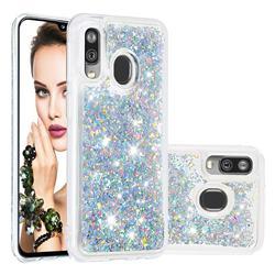 Dynamic Liquid Glitter Quicksand Sequins TPU Phone Case for Samsung Galaxy A40 - Silver