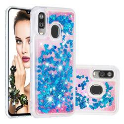 Dynamic Liquid Glitter Quicksand Sequins TPU Phone Case for Samsung Galaxy A40 - Blue