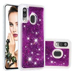 Dynamic Liquid Glitter Quicksand Sequins TPU Phone Case for Samsung Galaxy A40 - Purple