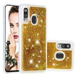 Dynamic Liquid Glitter Quicksand Sequins TPU Phone Case for Samsung Galaxy A40 - Golden