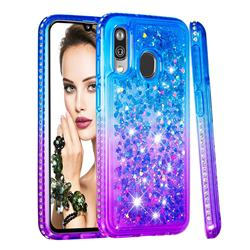 Diamond Frame Liquid Glitter Quicksand Sequins Phone Case for Samsung Galaxy A40 - Blue Purple