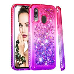 Diamond Frame Liquid Glitter Quicksand Sequins Phone Case for Samsung Galaxy A40 - Pink Purple