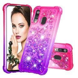 Rainbow Gradient Liquid Glitter Quicksand Sequins Phone Case for Samsung Galaxy A40 - Pink Purple