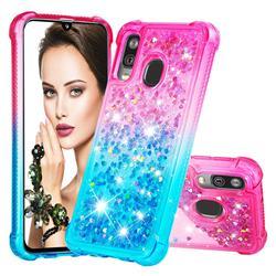 Rainbow Gradient Liquid Glitter Quicksand Sequins Phone Case for Samsung Galaxy A40 - Pink Blue