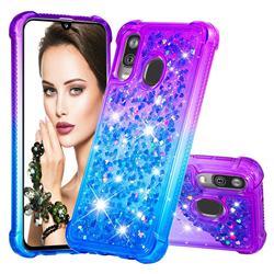Rainbow Gradient Liquid Glitter Quicksand Sequins Phone Case for Samsung Galaxy A40 - Purple Blue