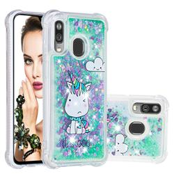 Tiny Unicorn Dynamic Liquid Glitter Sand Quicksand Star TPU Case for Samsung Galaxy A40