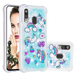 Fashion Unicorn Dynamic Liquid Glitter Sand Quicksand Star TPU Case for Samsung Galaxy A40