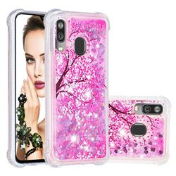 Pink Cherry Blossom Dynamic Liquid Glitter Sand Quicksand Star TPU Case for Samsung Galaxy A40