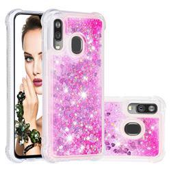 Dynamic Liquid Glitter Sand Quicksand TPU Case for Samsung Galaxy A40 - Pink Love Heart