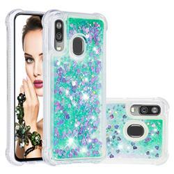 Dynamic Liquid Glitter Sand Quicksand TPU Case for Samsung Galaxy A40 - Green Love Heart