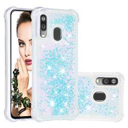 Dynamic Liquid Glitter Sand Quicksand TPU Case for Samsung Galaxy A40 - Silver Blue Star