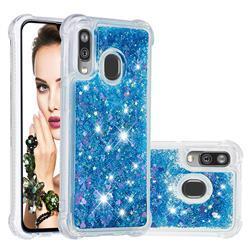 Dynamic Liquid Glitter Sand Quicksand TPU Case for Samsung Galaxy A40 - Blue Love Heart