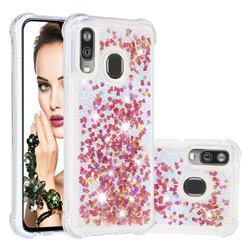 Dynamic Liquid Glitter Sand Quicksand TPU Case for Samsung Galaxy A40 - Rose Gold Love Heart