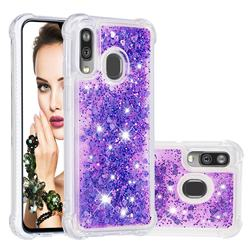 Dynamic Liquid Glitter Sand Quicksand Star TPU Case for Samsung Galaxy A40 - Purple