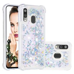 Dynamic Liquid Glitter Sand Quicksand Star TPU Case for Samsung Galaxy A40 - Silver