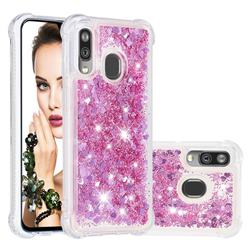Dynamic Liquid Glitter Sand Quicksand Star TPU Case for Samsung Galaxy A40 - Diamond Rose