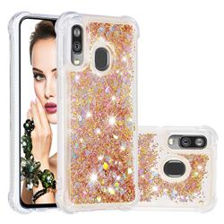 Dynamic Liquid Glitter Sand Quicksand Star TPU Case for Samsung Galaxy A40 - Diamond Gold