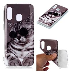 Kitten with Sunglasses Soft TPU Cell Phone Back Cover for Samsung Galaxy A40