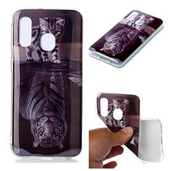 Cat and Tiger Soft TPU Cell Phone Back Cover for Samsung Galaxy A40