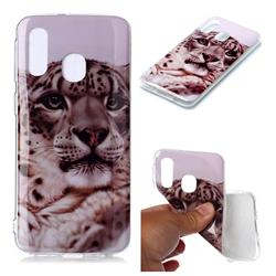 White Leopard Soft TPU Cell Phone Back Cover for Samsung Galaxy A40