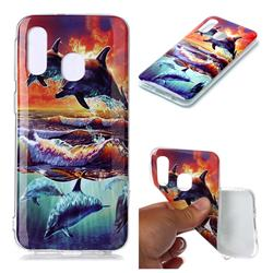 Flying Dolphin Soft TPU Cell Phone Back Cover for Samsung Galaxy A40