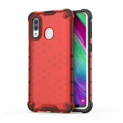Honeycomb TPU + PC Hybrid Armor Shockproof Case Cover for Samsung Galaxy A40 - Red