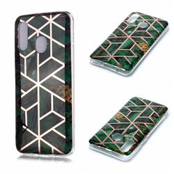 Green Rhombus Galvanized Rose Gold Marble Phone Back Cover for Samsung Galaxy A40