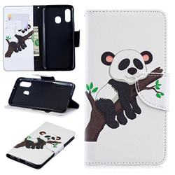 Tree Panda Leather Wallet Case for Samsung Galaxy A40