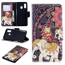 Totem Flower Elephant Leather Wallet Case for Samsung Galaxy A40