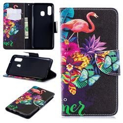 Flowers Flamingos Leather Wallet Case for Samsung Galaxy A40