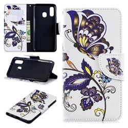 Butterflies and Flowers Leather Wallet Case for Samsung Galaxy A40