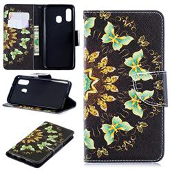Circle Butterflies Leather Wallet Case for Samsung Galaxy A40