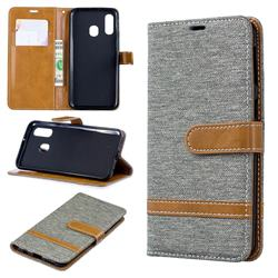 Jeans Cowboy Denim Leather Wallet Case for Samsung Galaxy A40 - Gray