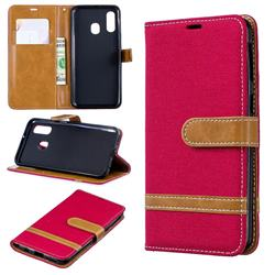 Jeans Cowboy Denim Leather Wallet Case for Samsung Galaxy A40 - Red