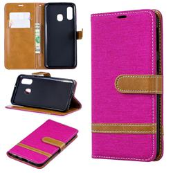 Jeans Cowboy Denim Leather Wallet Case for Samsung Galaxy A40 - Rose