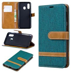 Jeans Cowboy Denim Leather Wallet Case for Samsung Galaxy A40 - Green