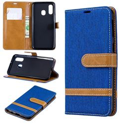 Jeans Cowboy Denim Leather Wallet Case for Samsung Galaxy A40 - Sapphire