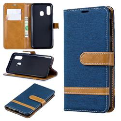 Jeans Cowboy Denim Leather Wallet Case for Samsung Galaxy A40 - Dark Blue