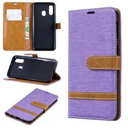 Jeans Cowboy Denim Leather Wallet Case for Samsung Galaxy A40 - Purple