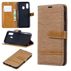 Jeans Cowboy Denim Leather Wallet Case for Samsung Galaxy A40 - Brown