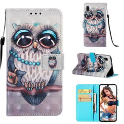 Sweet Gray Owl 3D Painted Leather Wallet Case for Samsung Galaxy A40