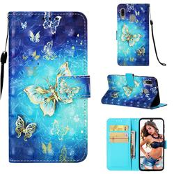 Gold Butterfly 3D Painted Leather Wallet Case for Samsung Galaxy A40