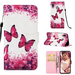 Rose Butterfly 3D Painted Leather Wallet Case for Samsung Galaxy A40