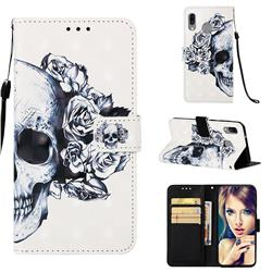Skull Flower 3D Painted Leather Wallet Case for Samsung Galaxy A40
