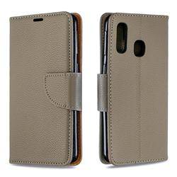 Classic Luxury Litchi Leather Phone Wallet Case for Samsung Galaxy A40 - Gray