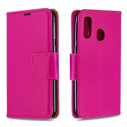 Classic Luxury Litchi Leather Phone Wallet Case for Samsung Galaxy A40 - Rose
