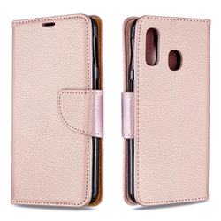 Classic Luxury Litchi Leather Phone Wallet Case for Samsung Galaxy A40 - Golden