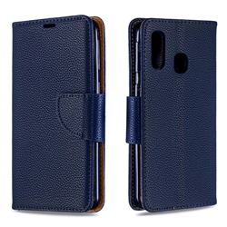 Classic Luxury Litchi Leather Phone Wallet Case for Samsung Galaxy A40 - Blue