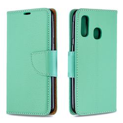 Classic Luxury Litchi Leather Phone Wallet Case for Samsung Galaxy A40 - Green