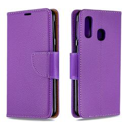 Classic Luxury Litchi Leather Phone Wallet Case for Samsung Galaxy A40 - Purple